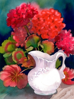 White Jug Red Geraniums, Elizabeth Cox