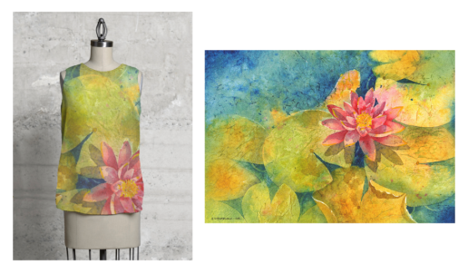 Lily sleeveless top with original painting