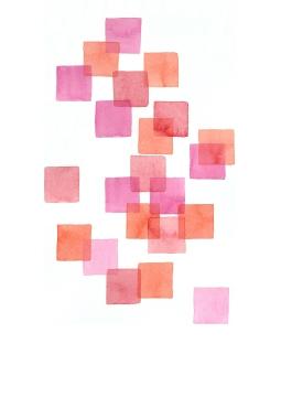 Pink & Orange Squares, 15x22 Watercolour on Paper