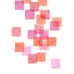 Pink & Orange Squares, 15x22 Watercolour on Paper
